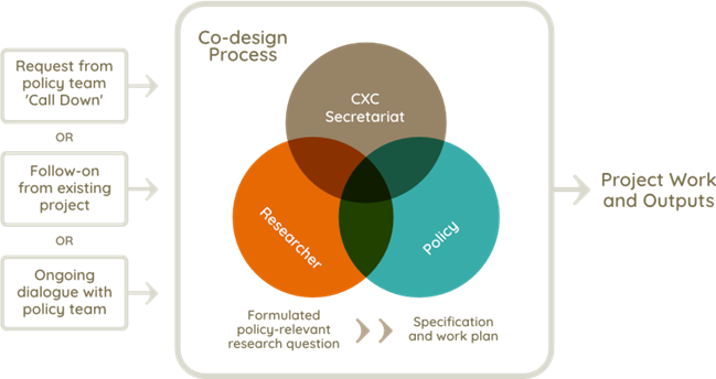 Co-design process involving secretariat, researchers and policy colleagues